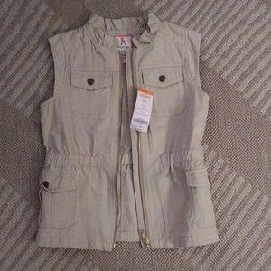 Khaki zip up vest